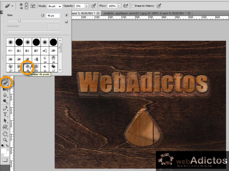 eraser tool photoshop Crear grabado de madera en Photoshop