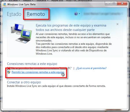permitir conexiones remotas Configurar Windows Live Sync Beta