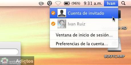 Mostrar usuario en la barra de menus Mac 8 Mostrar cambio rápido de usuario, o sea, tu nombre en la barra de menús
