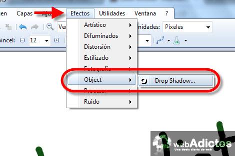 agregar sombra paintnet Colocar una sombra en Paint.NET