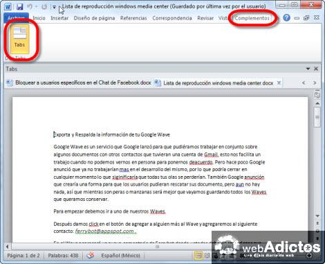 documentos en tabs word Agregar Tabs a tus documentos de Word