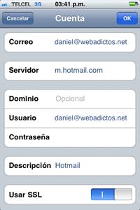 push hotmail iphone Configuración Push hotmail