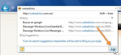 19 09 2010 08 46 00 a.m. Como cambiar el motor de búsqueda de Internet Explorer 9