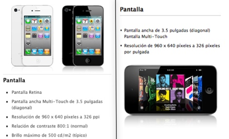 ipod touch iphone4 displays iPhone 4 vs iPod Touch, pantalla y cámara frente a frente