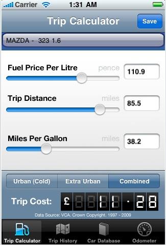 Fuel Calculator Calcula tu gasto en gasolina en el iPhone con Fuel Calculator