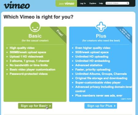 cuenta vimeo Crear una cuenta en Vimeo
