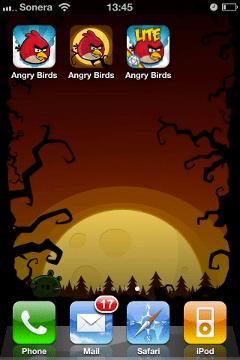 home screen Fondos pantalla de Angry Birds Halloween