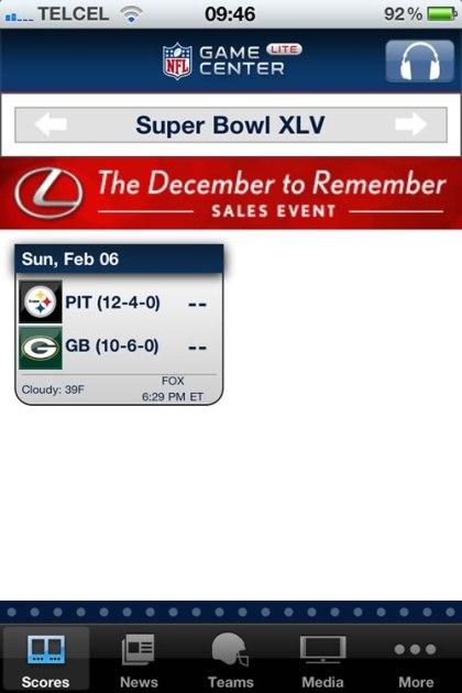 nfl game center superbowl Superbowl XLV desde tu iPhone y Android con NFL.com Game Center