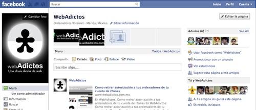 pagina facebook webadictos Actualizar paginas de Facebook a la nueva versión