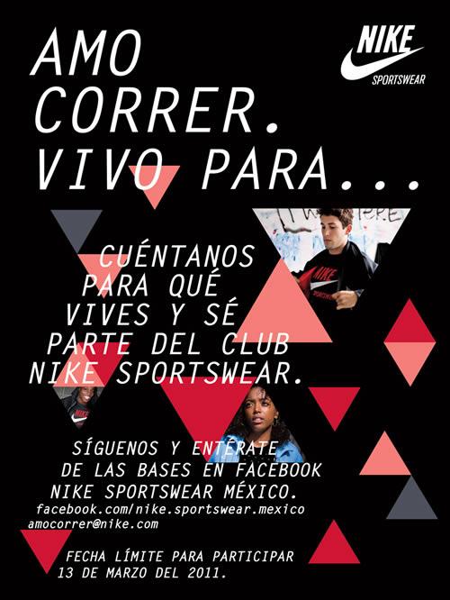 concurso nike mexico Concurso de Nike Sportswear, Amo para correr vivo para…