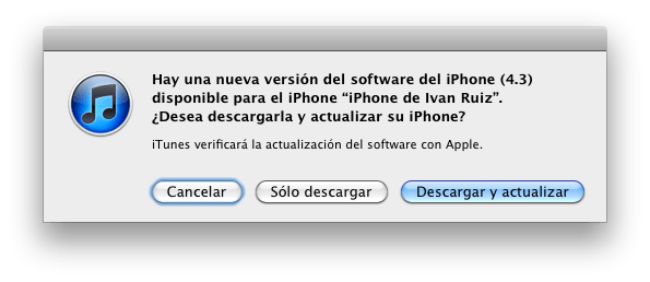 iOS 4.3 actualizacion Cómo actualizar tu iPhone, iPad o iPod Touch a iOS 4.3