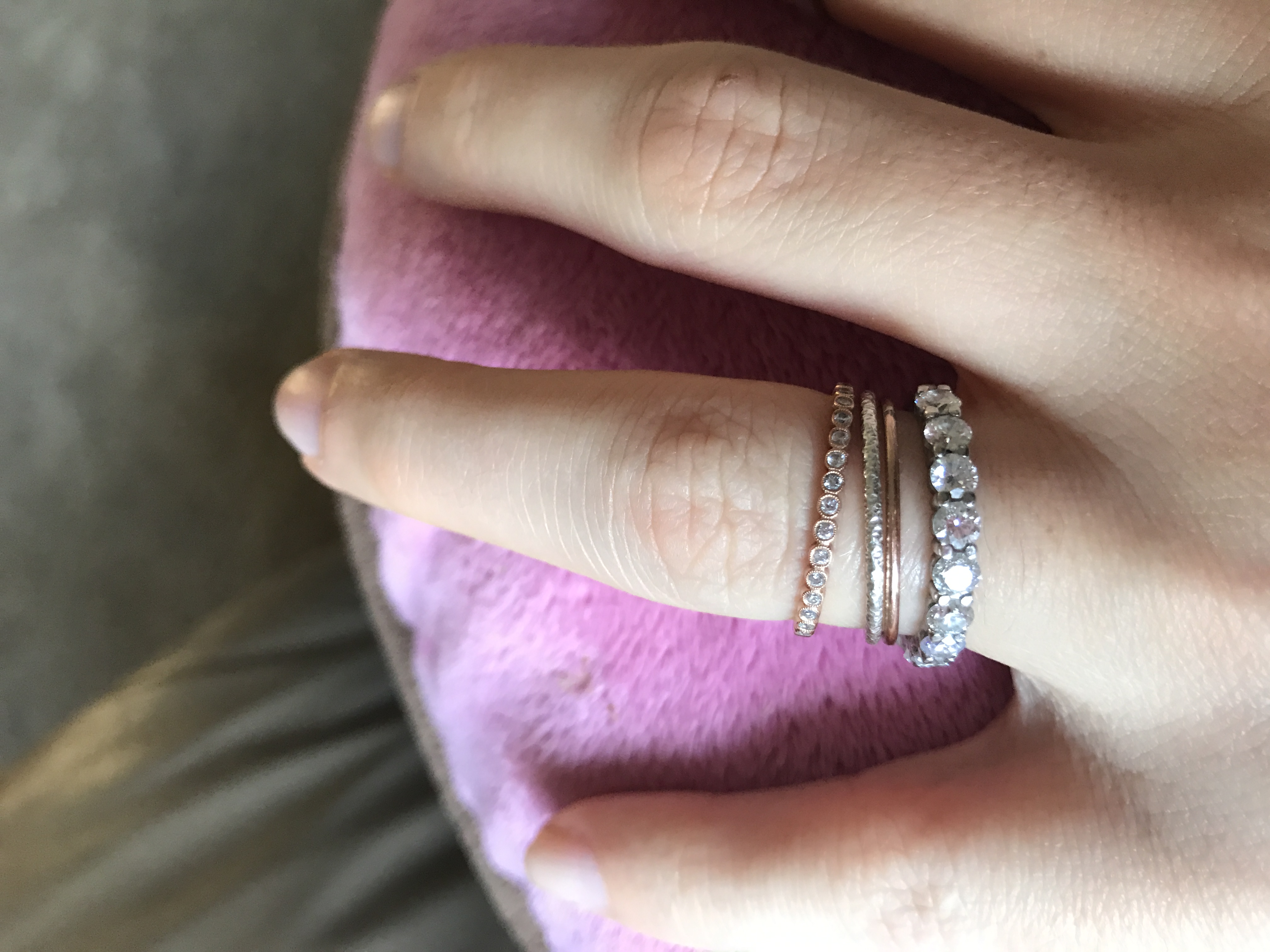 sneak peek of my set it shipped today and its stunning shane co wedding bands These are the bands I m working with right now The solitaire will be an upgrade in the one I currently have My stone now is 7 56mm says the guy at Shane