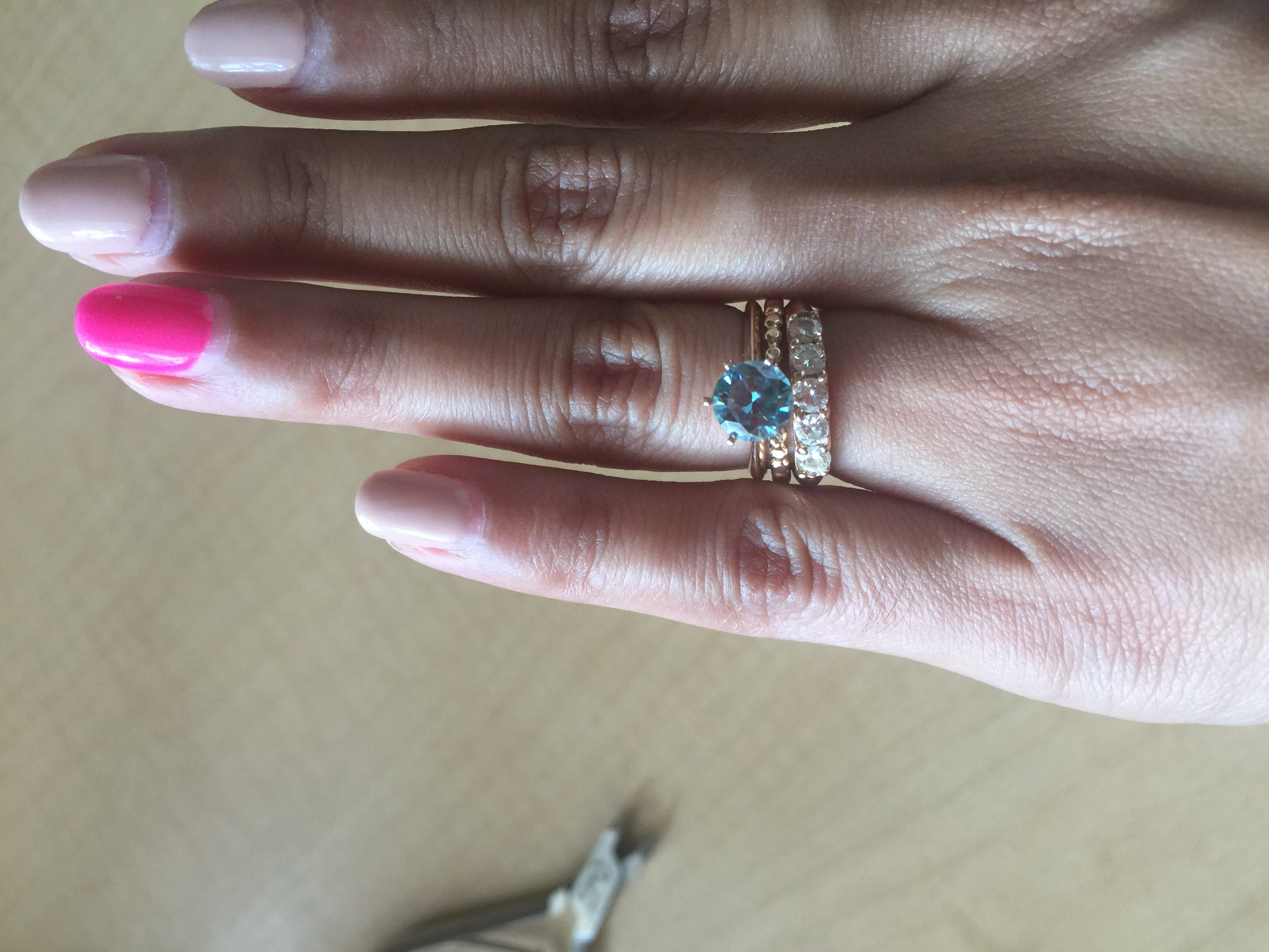 stacked set 5 stone band with blue moissanite solitaire pic heavy wedding ring spacer Tagged