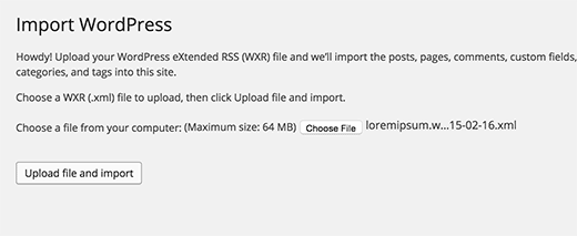 Importing WordPress using XML export file