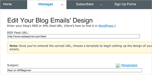 Aweber RSS to email settings