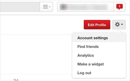 Visiting Pinterest account settings