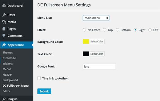 Fullscreen menu settings