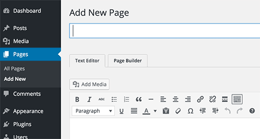 Add new page with page builder