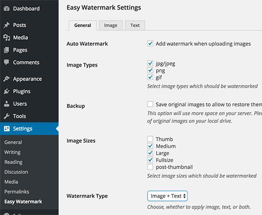 Easy Watermark plugin settings