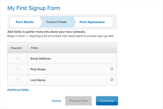 Add fields to your email signup form