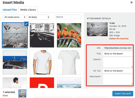 Add alt and title tags to your images in WordPress