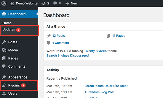 WordPress update notifications inside admin area