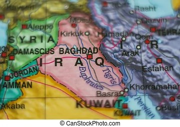 Baghdad iraq map  Baghdad in iraq pinned on colorful political map     iraq country on map