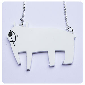 Acrylic Polar Bear Necklace