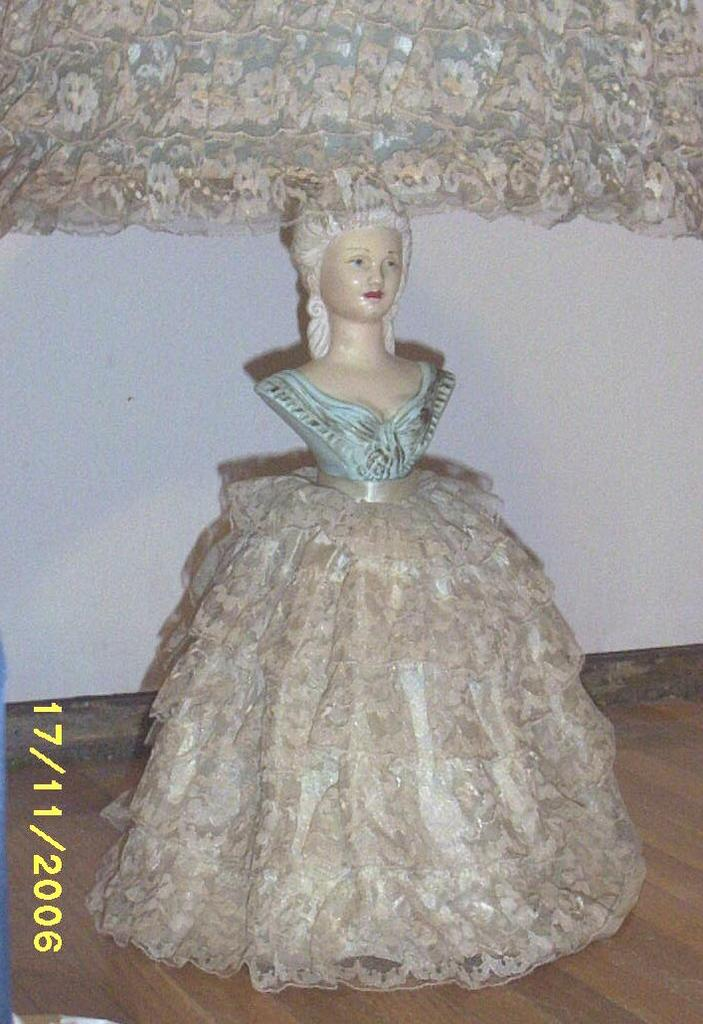 Vintage Blue Lady Southern Bell Lamp Ceramic Lace Ruffled Dress