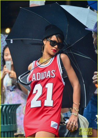 Rihanna Wearing Jersey Dress