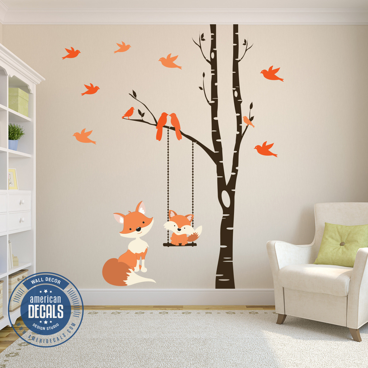 Exceptional Baby Fox Wall Decal Woodland Nursery Wall Decal Baby Fox Swing Trees River Birch Woodland Forest Birch Tree Wall Stickers Australia Birch Tree Wall Decal Nursery houzz 01 Birch Tree Wall Decal