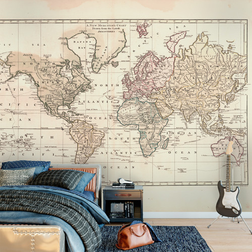Wall Mural Vintage 1800 World Atlas Map Wall Self Adhesive Fabric Decal Wall Mural Vintage 1800 World Atlas Map 4 colors   Custom Sizes  www AmeriDecals