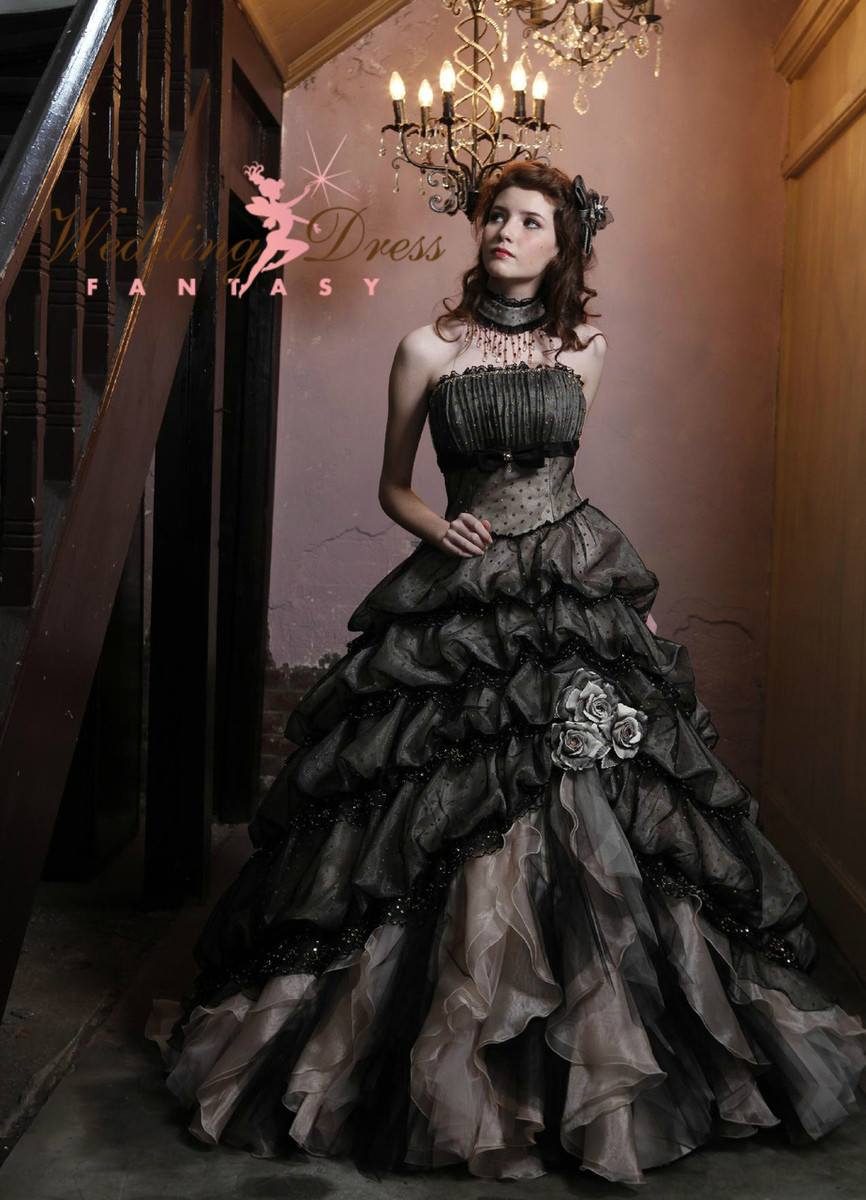 black wedding dresses wedding dresses black Black and Cream Wedding Dress