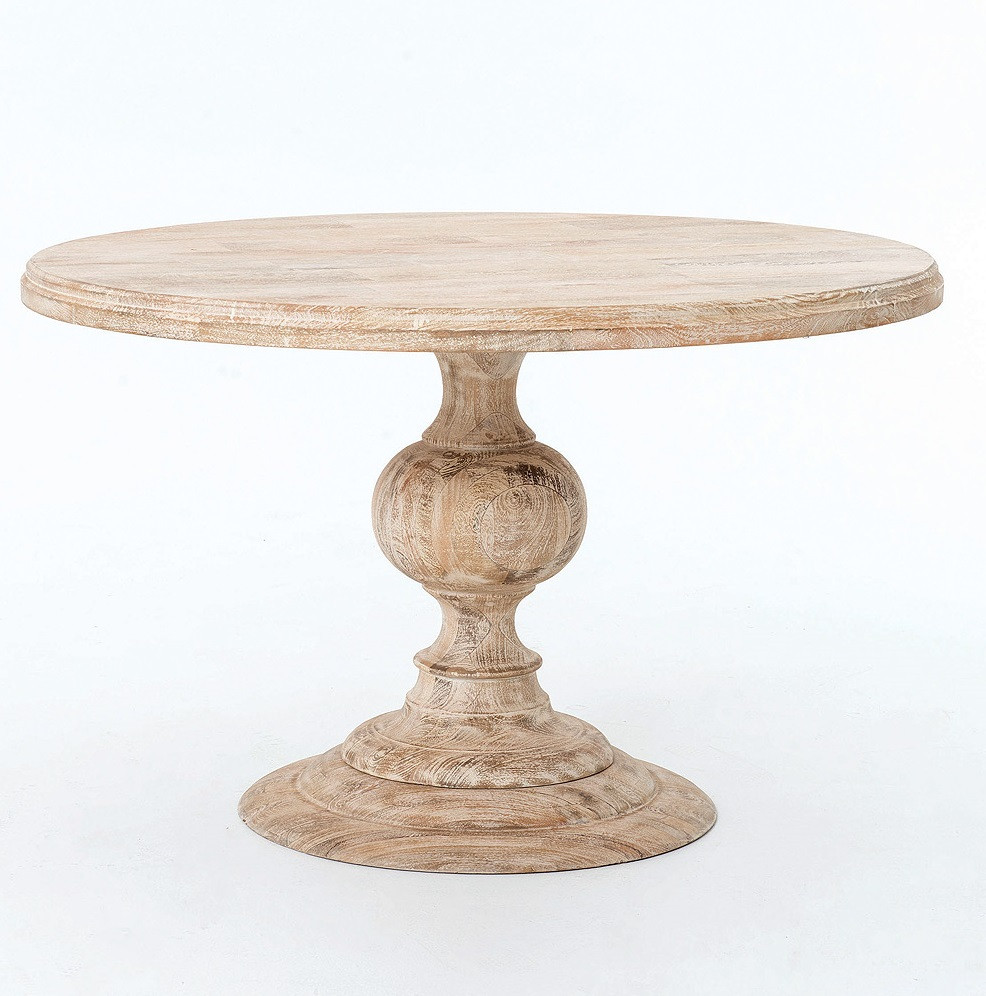 dining room tables round rustic kitchen table Rustic 48 Round Pedestal Dining Table