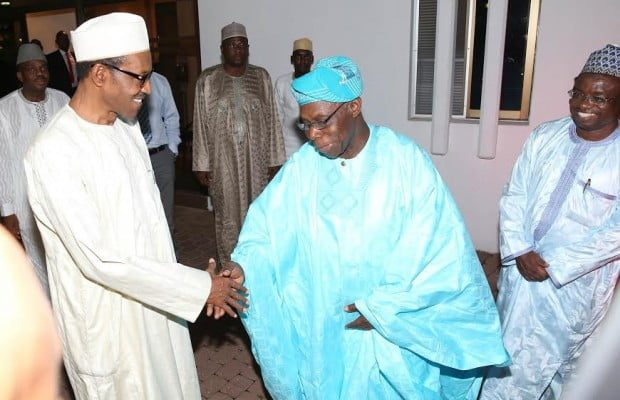PRESIDENT BUHARI RECEVIES OBASANJO 1. President Muhammadu Buhari thank the Former President of Nigeria, Chief Olusegun Obasanjo for visiting him at his residence Wendesday night at the Presidential Villa Abuja. PHOTO; SUNDAY AGHAEZE. OFFICE OF THE PRESIDENT. AUGUST 7 2015.