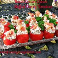 Bacon Cream Cheese Stuffed Cherry Tomatoes