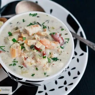 Restaurant quality seafood chowder at home with clams, shrimp and fish.