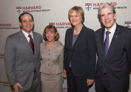 Campaign for Harvard School of Public Health co-chairs Jonathan Lavine, MBA '92, and Jeannie Bachelor Lavine, AB '88, MBA '92; Harvard President Drew Gilpin Faust; and Dean Julio Frenk