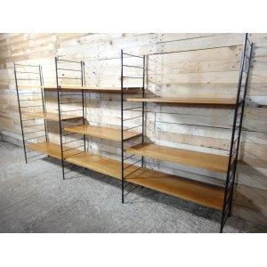 Imposing Mid Century Large Teak Metal Wall Shelving Unit 1960s 3 Metal Wall Shelf