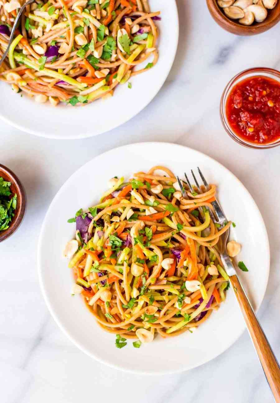 Asian Noodle Salad with Creamy Peanut Dressing. Quick and easy to make, lightened up from the original, and the sweet and spicy peanut dressing is ADDICTIVE! @wellplated