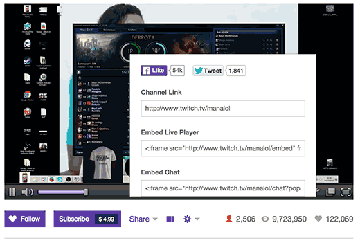 Getting embed code for your Twitch stream