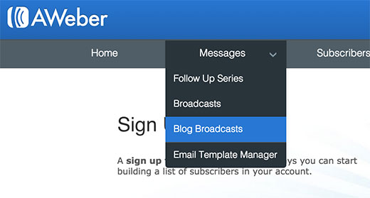 Creating blog broadcasts - RSS to email subscription in Aweber for WordPress