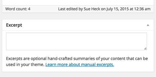 Excerpt box on WordPress post editing screen