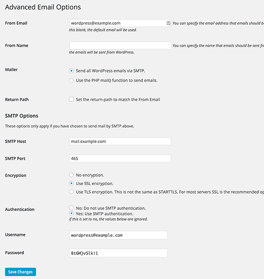 Setting up WordPress to use your SMTP server