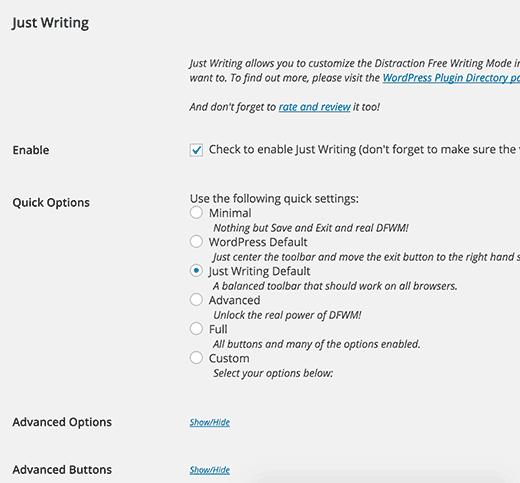 Just Writing settings