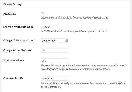 Settings page for Swifty Bar plugin