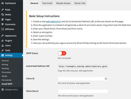 Gmail SMTP plugin settings