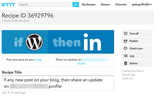 Your WordPress to LinkedIn recipe on IFTTT