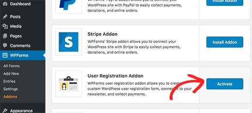 Activate user registration addon