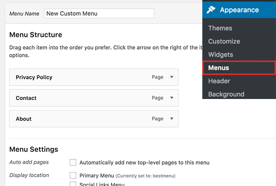 Creating a new custom menu